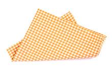 Orange Brown Checkered Napkin Table Clothes  On White Background.