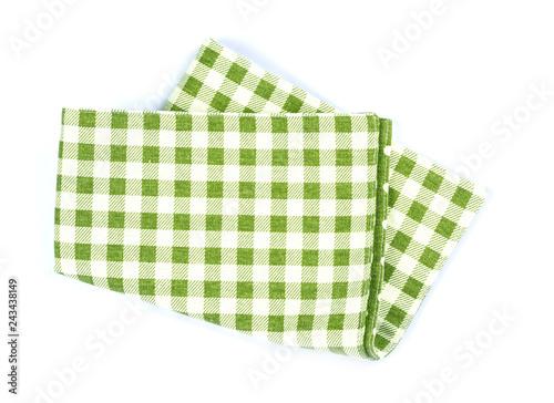 Fototapeta  green checkered napkin table clothes  on white background. obraz