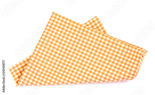 Fototapeta orange brown checkered napkin table clothes  on white background.