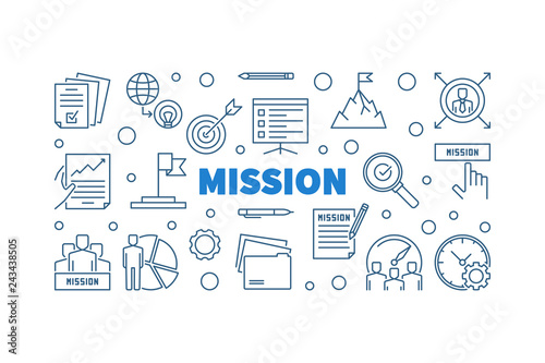 Mission outline blue horizontal illustration or banner in thin line style Wallpaper Mural