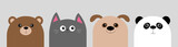 Fototapeta Fototapety na ścianę do pokoju dziecięcego - Cartoon kawaii baby bear, cat, dog, panda. Animal head face body icon set. Cute cartoon kawaii character. Flat design. Isolated. Gray background.