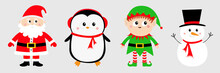 Snowman Santa Claus Elf Penguin Set. Happy New Year. Merry Christmas. Red Green Black Hat. Cute Cartoon Funny Kawaii Baby Character. Greeting Card. Flat Design. Gray Background.