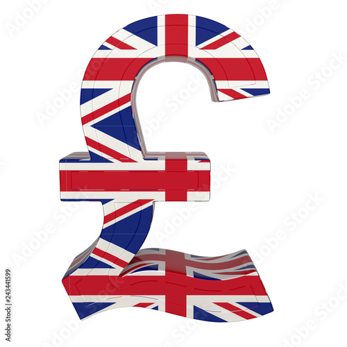 Currency Symbol With National Flag Uk Render Isolated On White