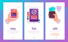 Vector Illustration Concept For Easy, Fast And Safe Mobile Money Payments With Human Hand Holding Smartphone And Woman At Big Device Paying Online. Flat Style. For Mobile App, Landing Page, Web Banner