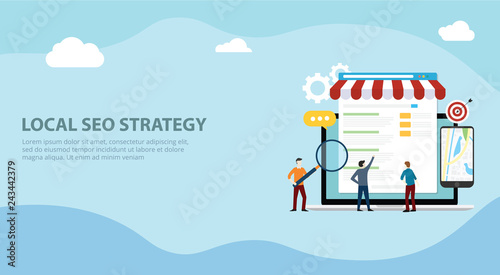 Photo  local seo market strategy business search engine optimization website design lan