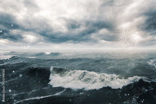 Fotografie, Obraz Stormy sea and clouds
