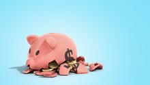 Savings Spending Comcept Pink Ceramic Piggy Bank Completely Broken Up Into Several Large Pieces Money Inside 3d Render On Blue