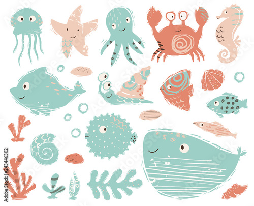 Naklejka premium Konik morski, ośmiornica, krab, ślimak, fuga, rozgwiazda, wieloryb, delfin, słodkie dziecko meduzy. Słodkie zwierzęta morskie.
