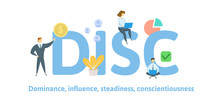 DISC, Dominance, Influence, Steadiness, Conscientiousness. Concept With Keywords, Letters, And Icons. Colored Flat Vector Illustration Isolated On White Background
