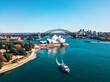 Leinwanddruck Bild - January 10, 2019. Sydney, Australia. Landscape aerial view of Sydney Opera house near Sydney business center around the harbour.