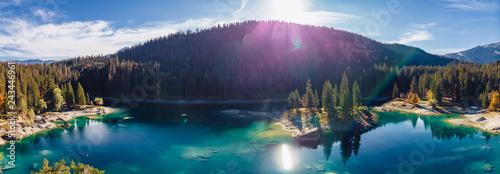 Obraz na plátne Flims lake at Switzerland drone aerial, alpine mountains, sunny, summer landscap