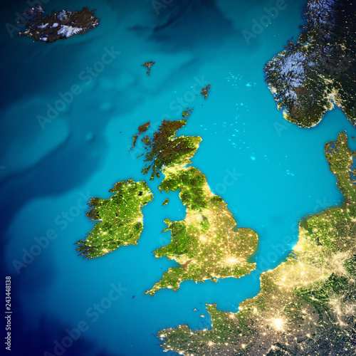 Cuadros en Lienzo United Kingdom and Ireland map