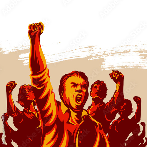 Fotomural Crowd of People with their hands and fist raised in the air vector illustration