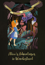 """Girl And Cat In Front Of Forest. Inscription """"Alice's Adwentures In Wonderland"""" Book Cover Or Poster Design"""