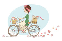 Girl On A Bicycle / Vector Ill...