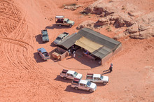 Tearoom In The Wadi Rum Desert And  Jeeps From The Air, Jordan
