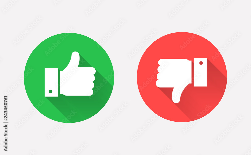 Fototapeta Thumbs up and down flat icon in circle shapes.