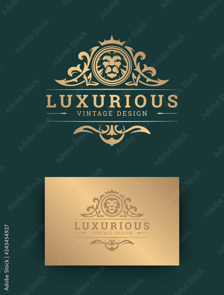 Fototapeta Luxury logo template design with lion vector illustration.