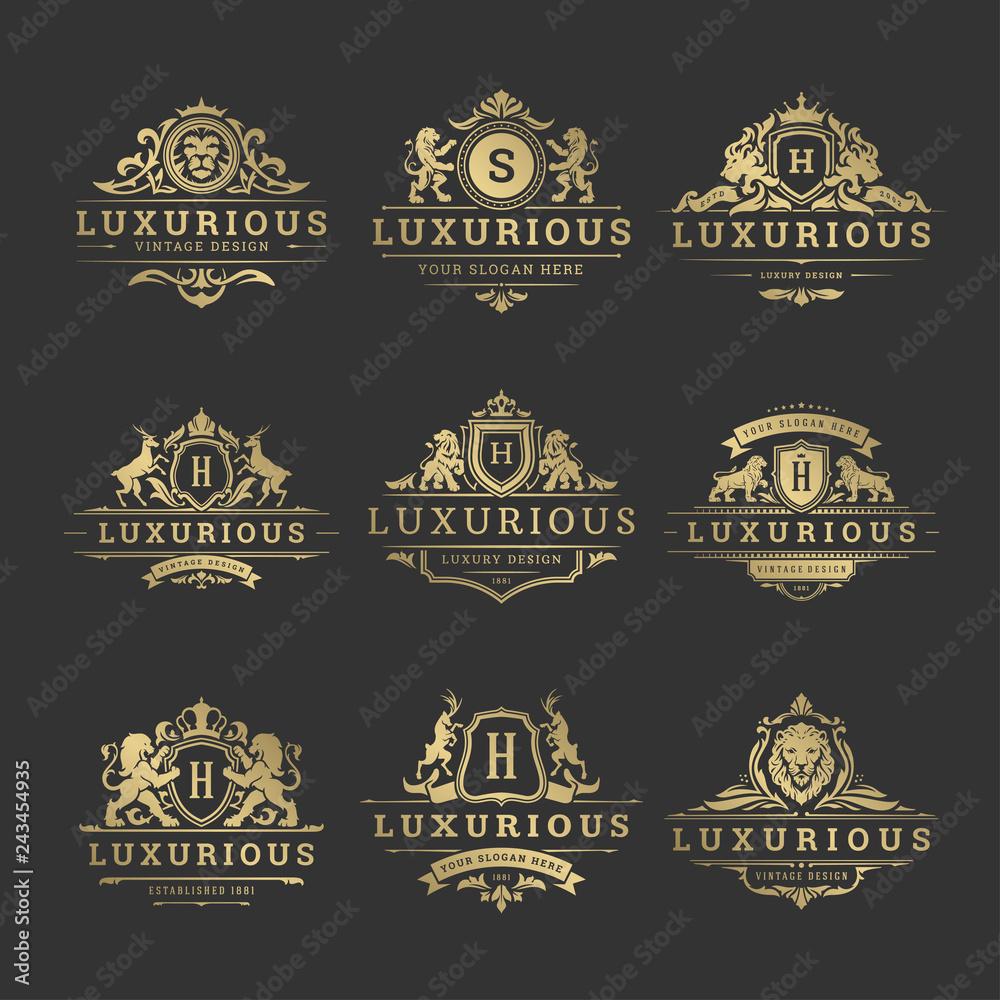 Fototapeta Luxury logos monograms crest design templates set vector illustration.