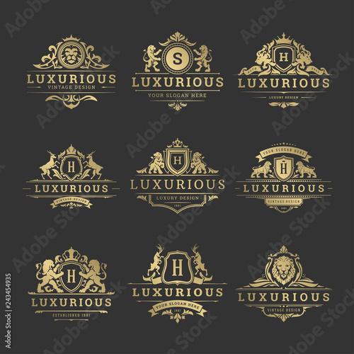 Valokuvatapetti Luxury logos monograms crest design templates set vector illustration