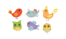 Flat Vector Set Of Colorful Little Birds. Lovely Creatures With Small Wings. Fauna Theme
