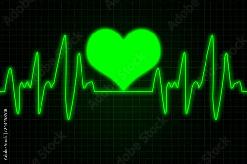 Obraz na plátně  Heart and heartbeat symbol - Green colors