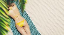 Girl On The Beach With Bikini, 3d Render Illustration
