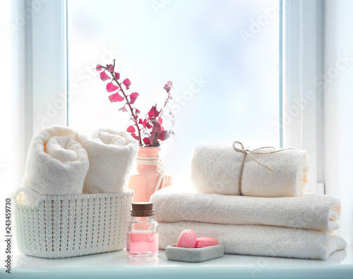 Cuadros en Lienzo Bathroom towels and soap empty space background,shower items.