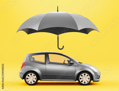 Fotografia  Car and umbrella, insurance concept