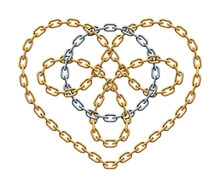 Golden Heart Symbol With Silver Circle Within Made Of Chains. Cycle Love Sign. Vector Illustration.