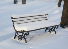 Wooden Bench After Snowstorm I...