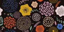 Сontemporary Spring Floral Pattern. Hand-drawn Vector Illustration. Spring Flowers On Black Background. Seamless Ornament For Decor, Wallpaper, Gift Paper, Souvenir And Patchwork Design