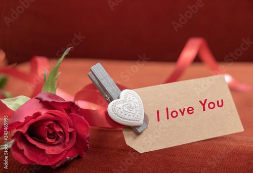 Texte I Love You Et Une Rose Rouge Pour Déclaration D