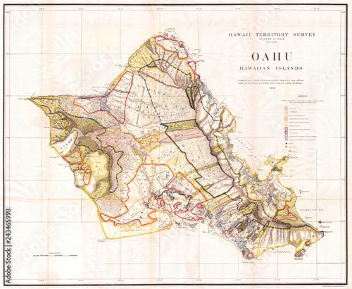 Fényképezés Old Map of the Island of Oahu, Hawaii, Honolulu 1902, Land Office Map