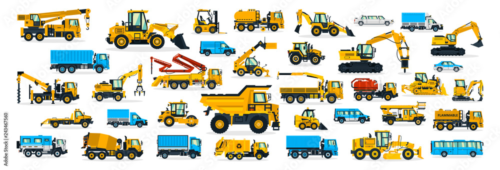Fototapeta A large set of construction equipment, transportation for the construction site, cargo truck, bus, excavator, crane, tractor. Machines for building services. Shipping by cars. Vector illustration