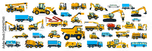 Fotografía  A large set of construction equipment, transportation for the construction site, cargo truck, bus, excavator, crane, tractor