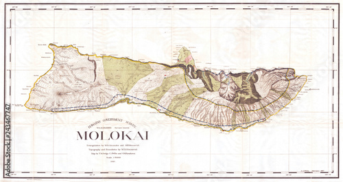 1897, Land Office Map of the Island of Molokai, Hawaii Canvas-taulu