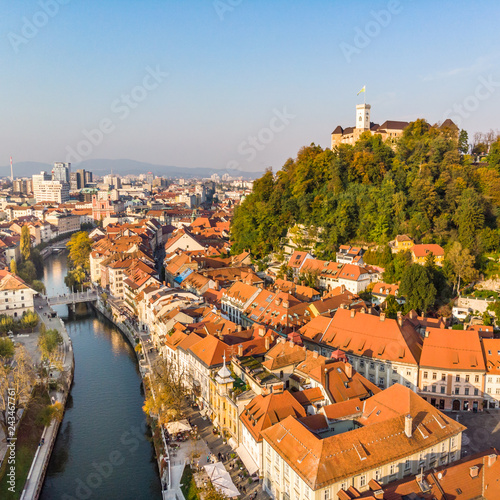 In de dag Centraal Europa Aerial panoramic view of Ljubljana, capital of Slovenia in warm afternoon sun.