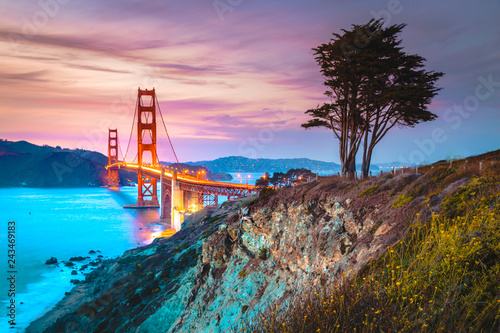 Canvas Prints San Francisco Golden Gate Bridge at twilight, San Francisco, California, USA