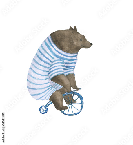 akwarela-malowanie-niedzwiedzia-na-rowerze