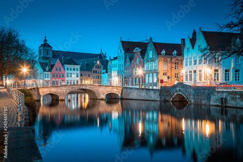 Deurstickers Centraal Europa Historic city of Brugge at twilight, Flanders region, Belgium