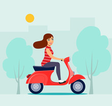 Happy Girl Riding Red Scooter. Vector Flat Illustration