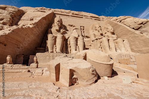 Fotografie, Obraz  Abu Simbel Great Temple of Ramesses II near Abu Simbel Nubian Village near Lake