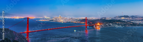 Panorama of the Gold Gate Bridge and San Francisco city at night, California Wallpaper Mural