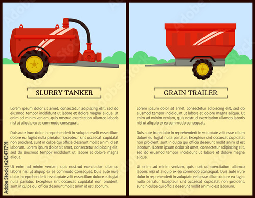 Foto  Agricultural Machinery Set, Cartoon Vector Banner