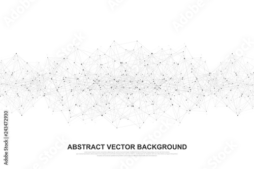 Fotografia  Abstract polygonal background with connected lines and dots
