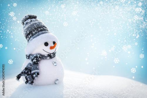 Snowman In Wintry Landscape Wallpaper Mural