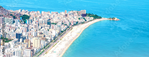 Rio's Best Beaches with turquoise water: famous Copacabana Beach, Ipanema Beach, Barra da Tijuca Beach in Rio de Janeiro, Brazil Wallpaper Mural