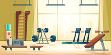 Modern Sport Club Gym Cartoon Vector Interior With Treadmill, Abdominal Bench, Barbell And Dumbbell On Stand In Spacious Room Illustration. Contemporary Fitness Equipment. Active And Healthy Lifestyle