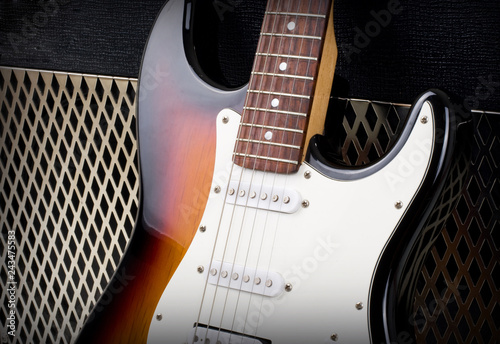 guitar amplifier and electricguitar Canvas Print